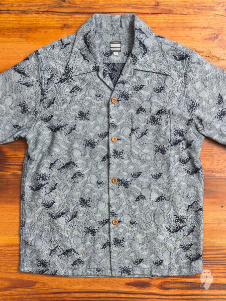 06-054 Peach Jacquard Aloha Shirt in Indigo