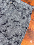 02-037 Peach Jacquard Shorts in Indigo