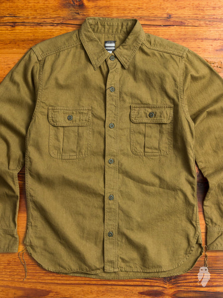 05-140 Linen Fatigue Shirt in Khaki Twill