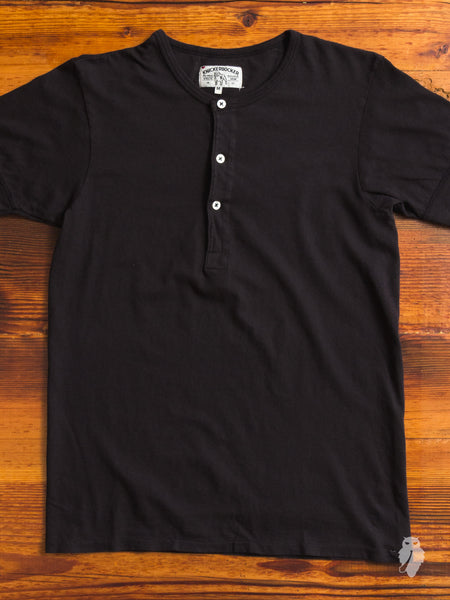 Tube Knit Henley in Black