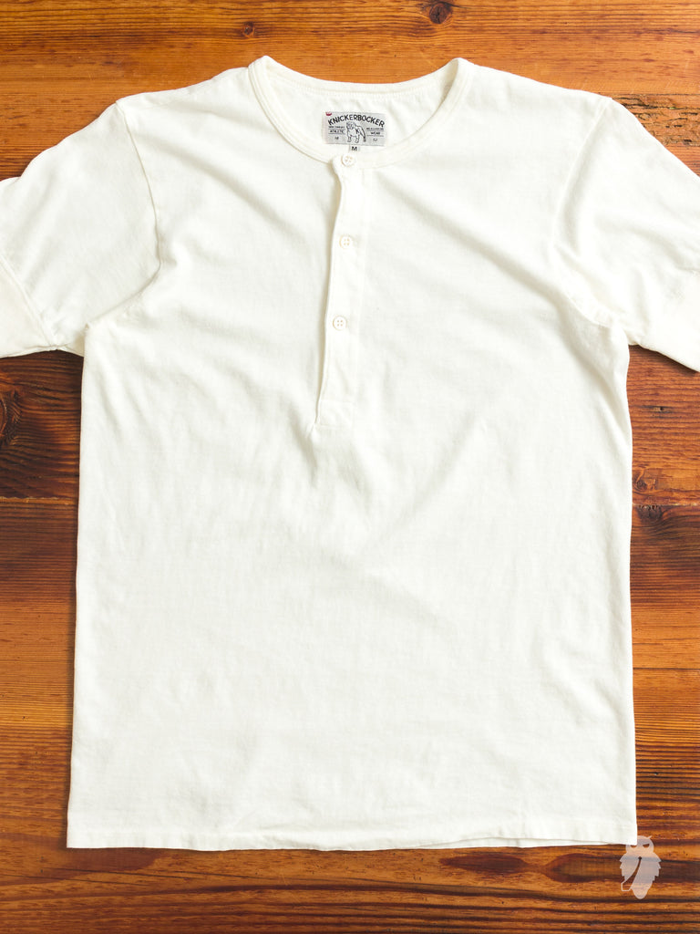 Tube Knit Henley in White