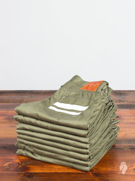 0302SP West Point Selvedge Chino in Military Green - Tight Tapered Fit