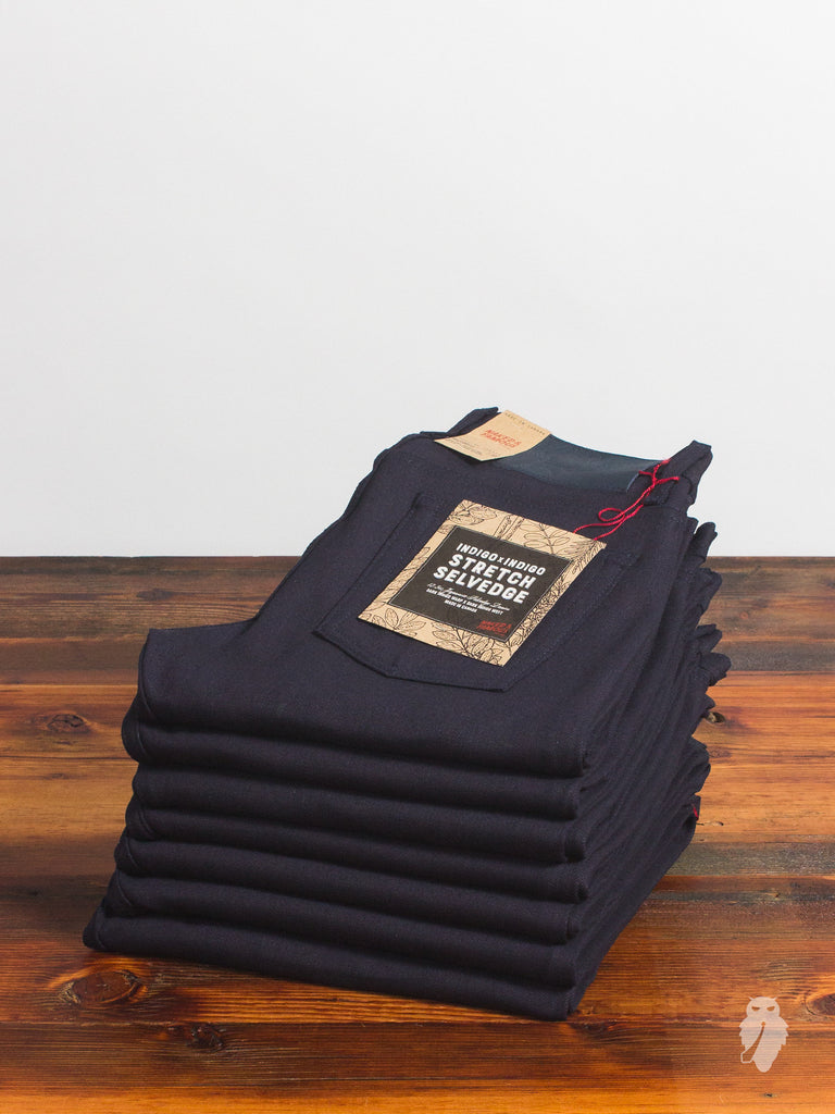 """Indigo/Indigo Stretch"" 12.5oz Selvedge Denim - Weird Guy Fit"