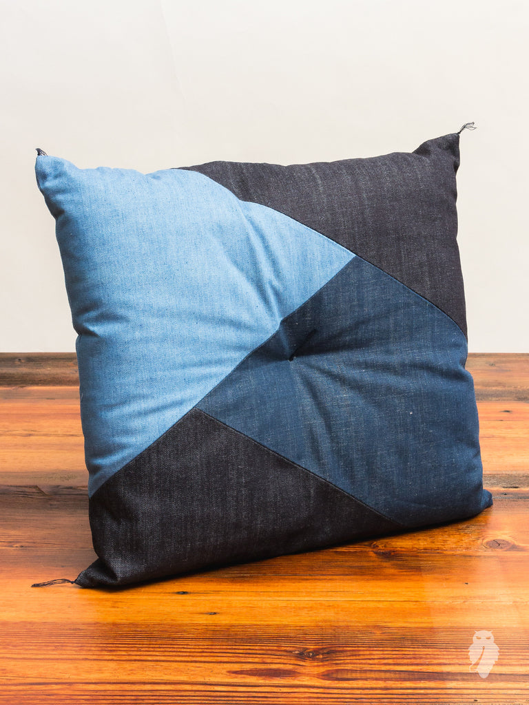 Denim Patchwork Pillow