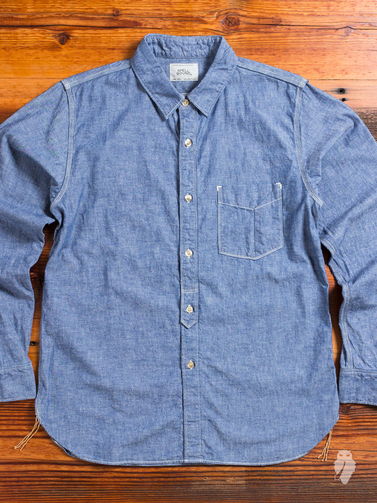 """Origami"" Selvedge Chambray Button Up Shirt in Indigo"