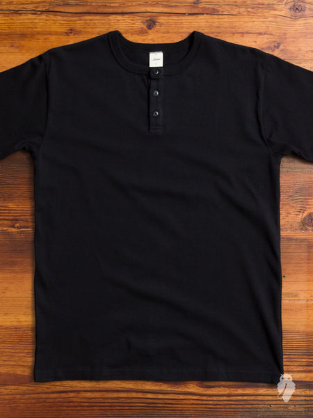 Heavyweight Henley in Black