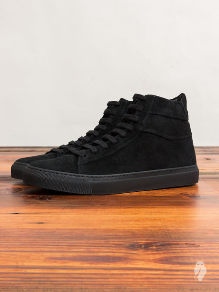 Court Hi-Top Sneaker in Black Suede