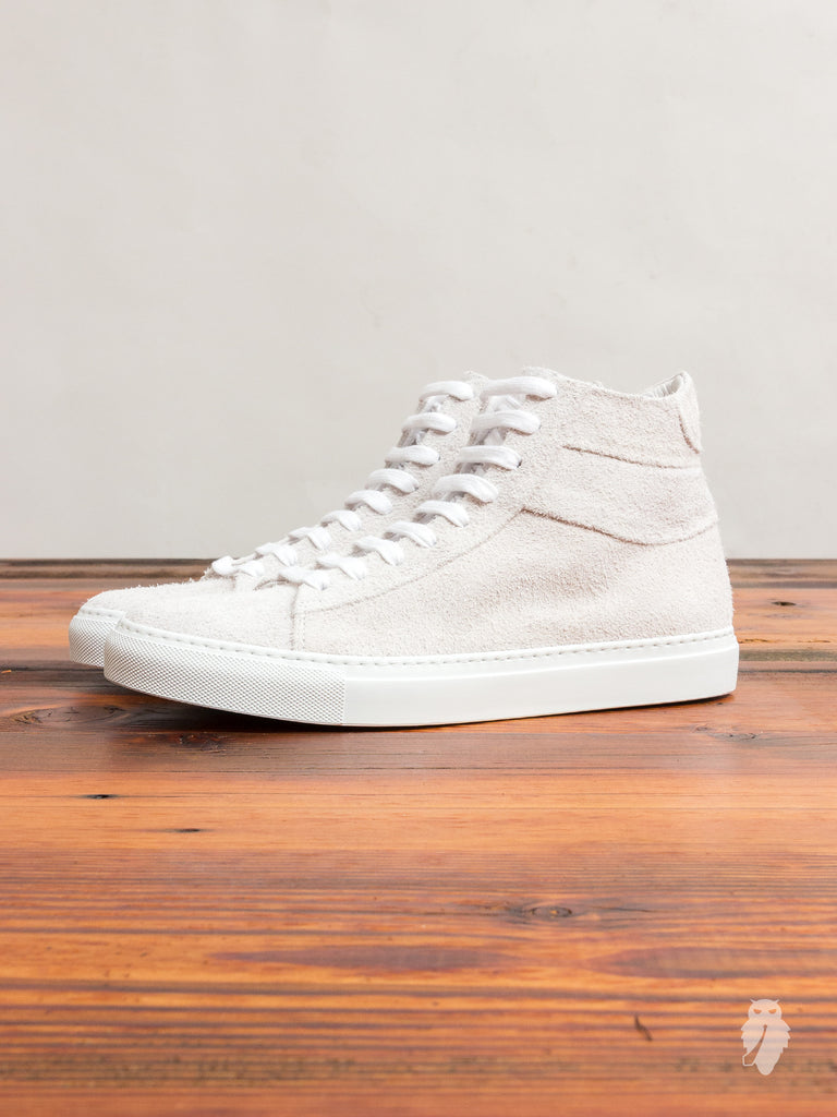 Court Hi-Top Sneaker in White Suede