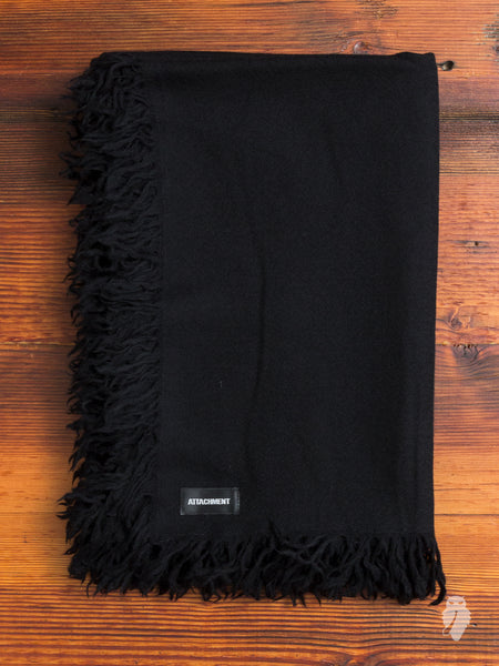 Wool Fringe Scarf in Black