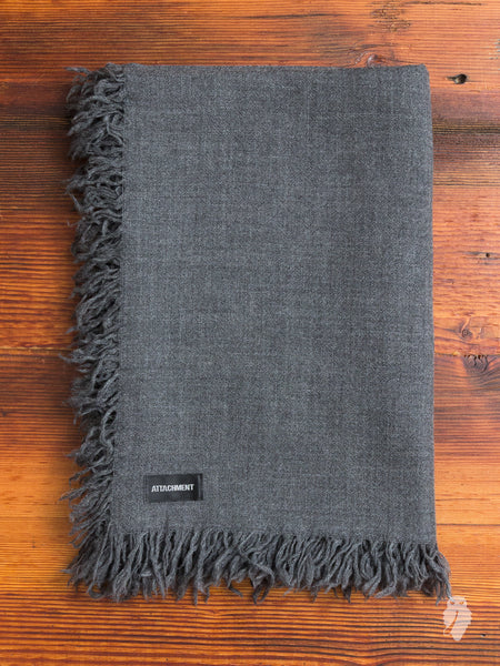 Wool Fringe Scarf in Charcoal