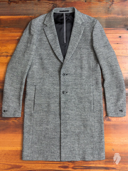 Alpaca/Hemp Tweed Chesterfield Coat in Salt