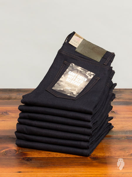 """Army Green Slub Stretch"" 12.5oz Selvedge Denim - Super Skinny Guy Fit"