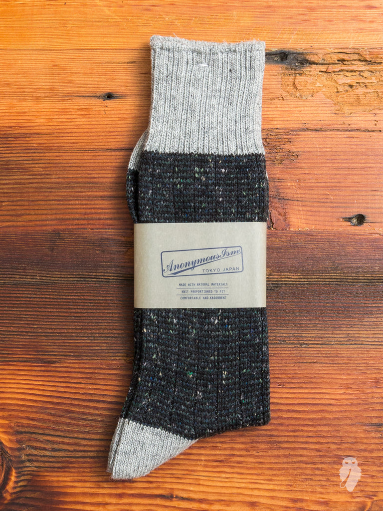 Tweed Nep Crew Sock in Grey