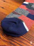 Patchwork Crew Sock in Navy