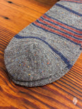 Blanket Stripe Crew Sock in Grey