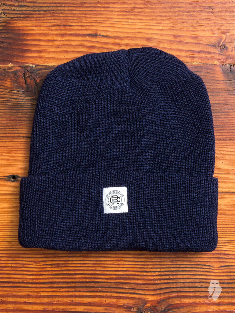Merino Wool Beanie in Navy