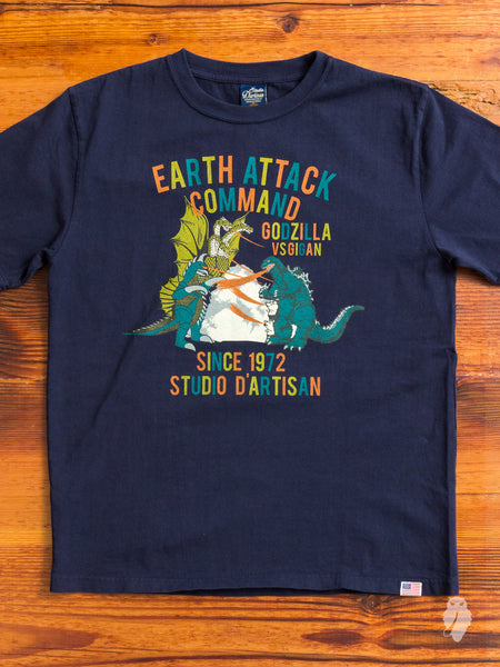"""Earth Attack"" T-Shirt in Navy"
