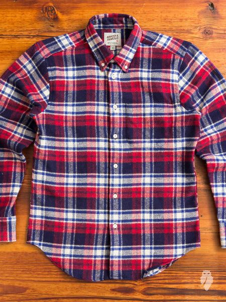 """Heavy Brushed Flannel"" Button Down Shirt in Navy/Red"