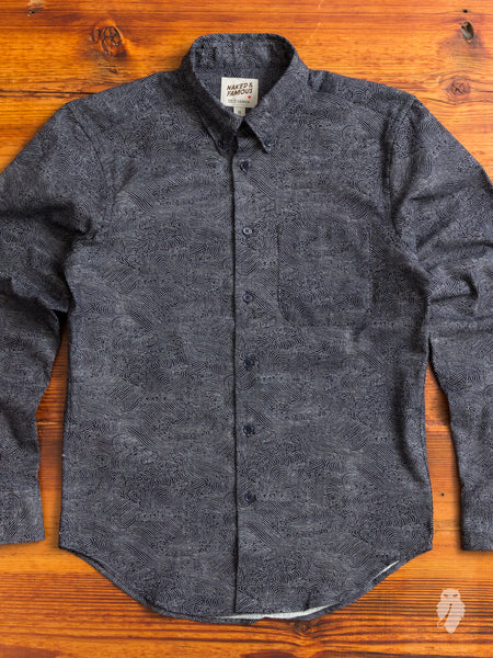 """Kimono Waves"" Button Down Shirt in Indigo"