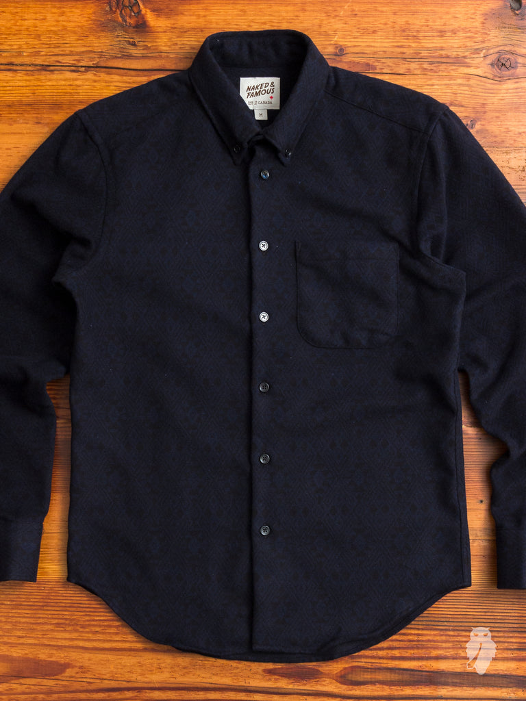 """Brushed Tribal"" Button Down Shirt in Midnight"
