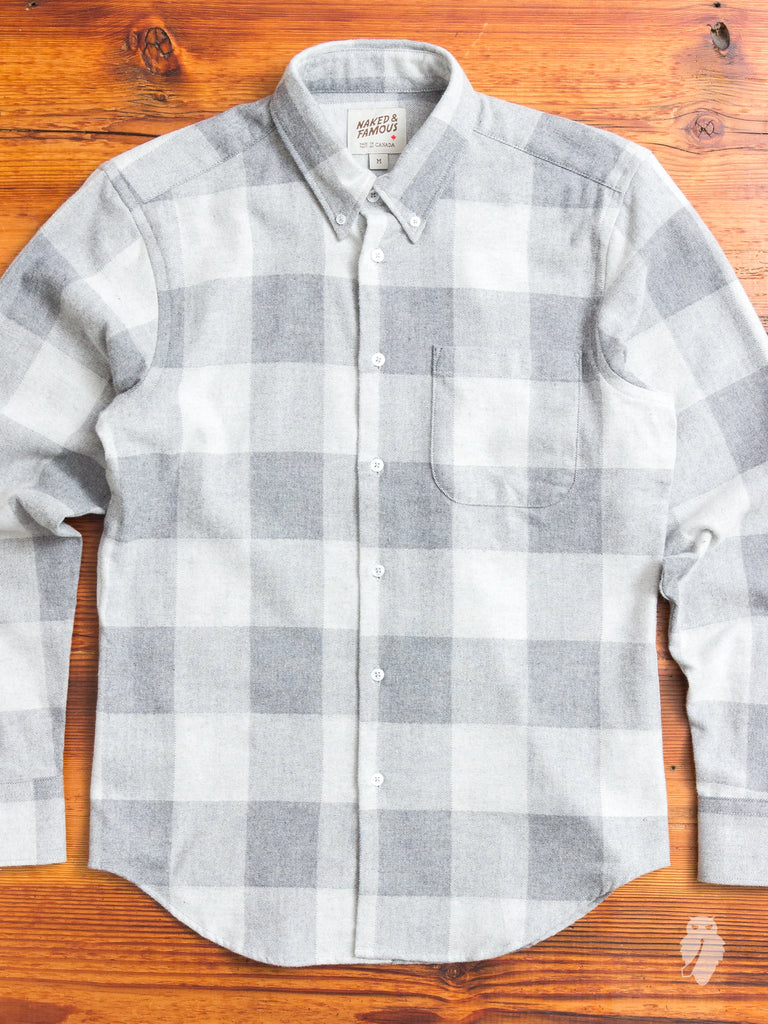 """Buffalo Check"" Button Down Shirt in Grey"