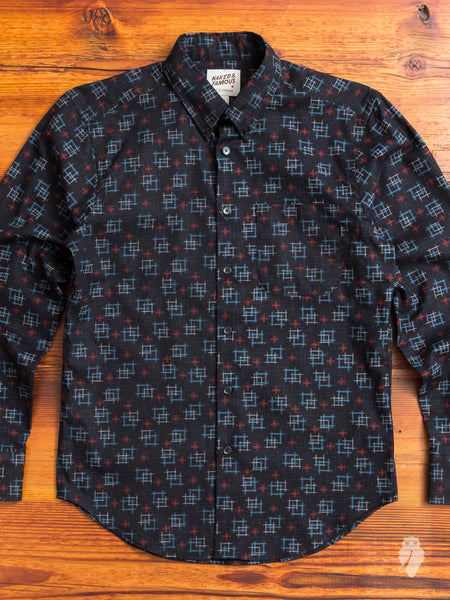 """Kasuri Check"" Button Down Shirt in Black"