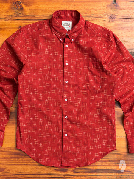 """Kasuri Check"" Button Down Shirt in Red"