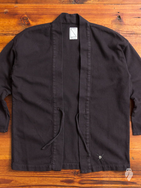 Haori Sashiko Shirt in Matte Black