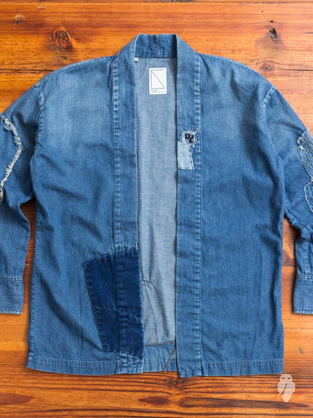 Haori Western Denim Shirt in Indigo Boro Repair