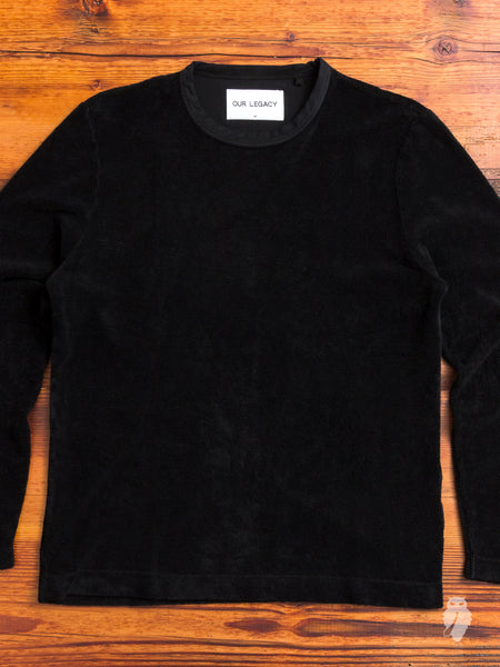 Long Sleeve T-Shirt in Black Terry