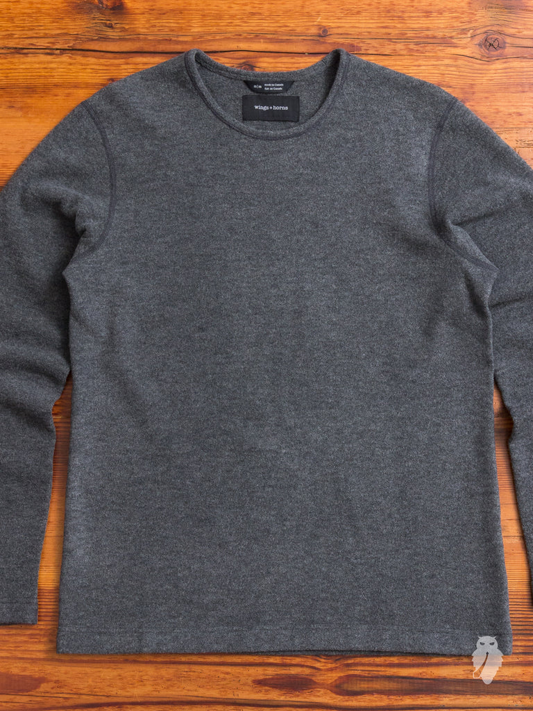 Felted Wool Crewneck Sweater in Charcoal