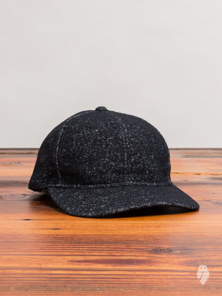 Knit Wool 6-Panel Hat in Marled Black