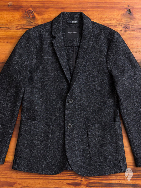 Knit Wool Blazer in Marled Black