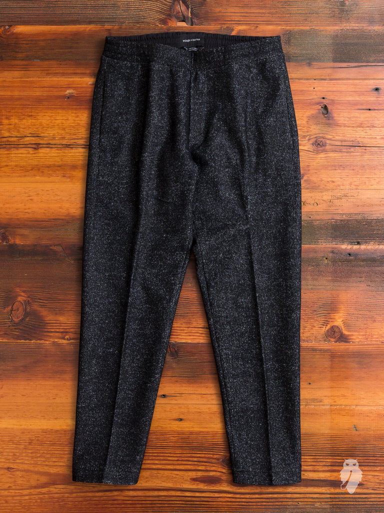 Knit Wool Officer Pants in Marled Black