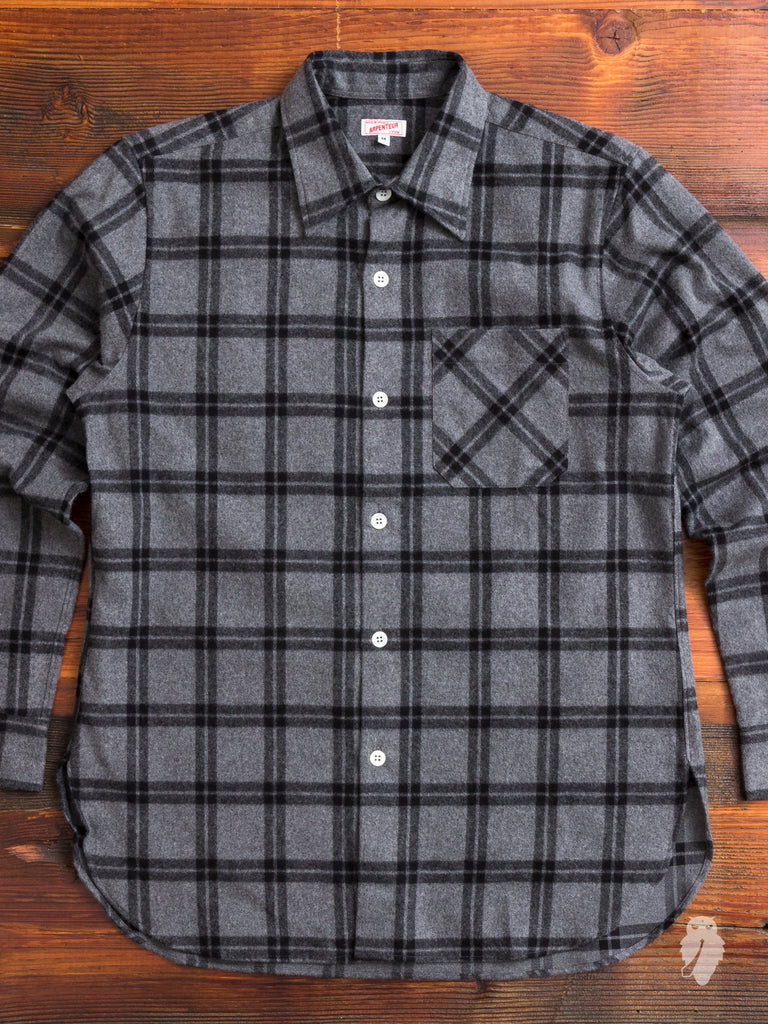"""Ted"" Shaggy Flannel Shirt in Grey"