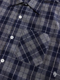"""Ted"" Shaggy Flannel Shirt in Navy"