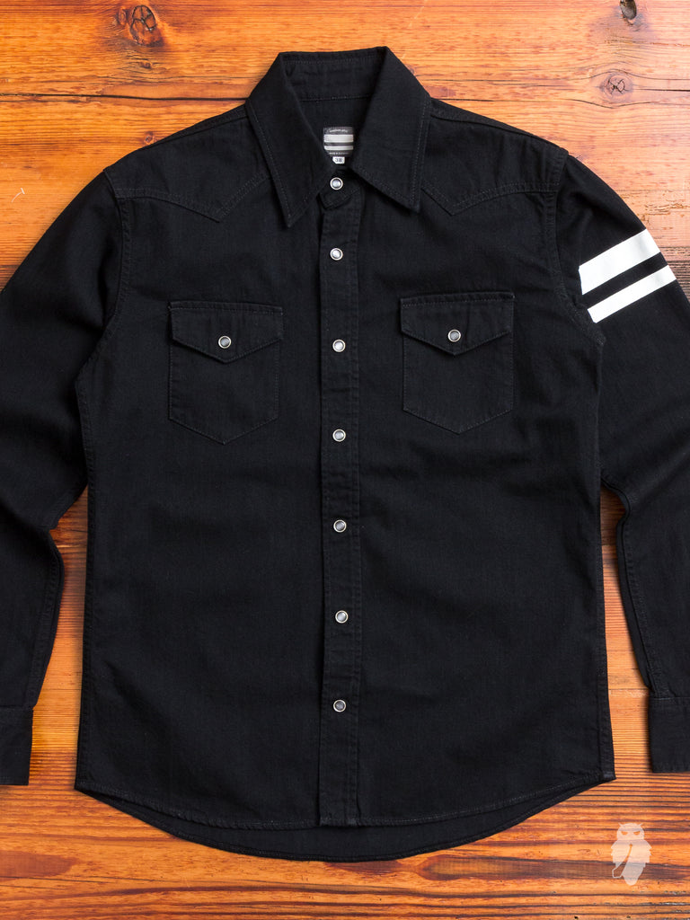 "05-152 ""Going to Battle"" 8oz Selvedge Denim Western Shirt in Black"