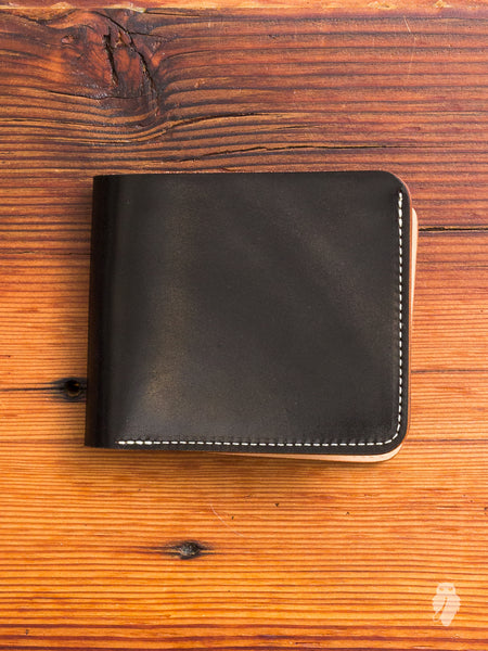 Shell Cordovan Bifold Wallet in Black