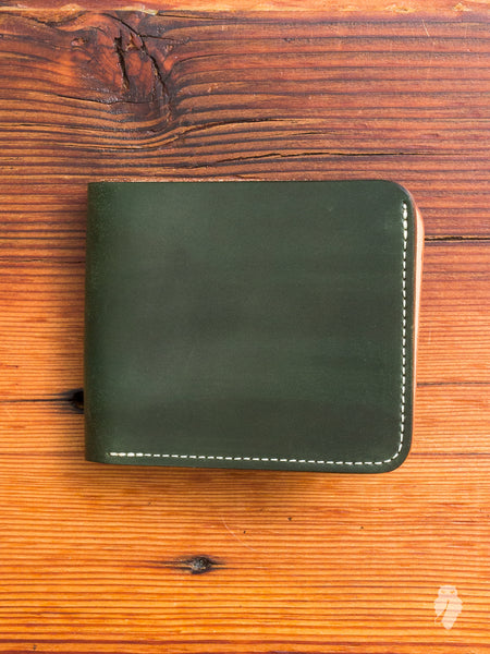 Shell Cordovan Bifold Wallet in Green