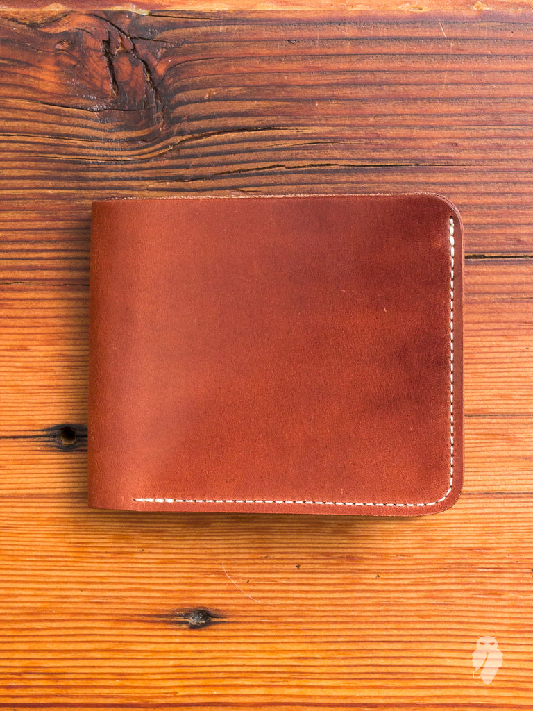 Shell Cordovan Bifold Wallet in Burgundy