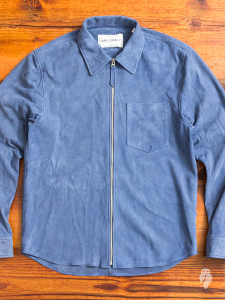 Suede Zip Shirt in Denim Blue