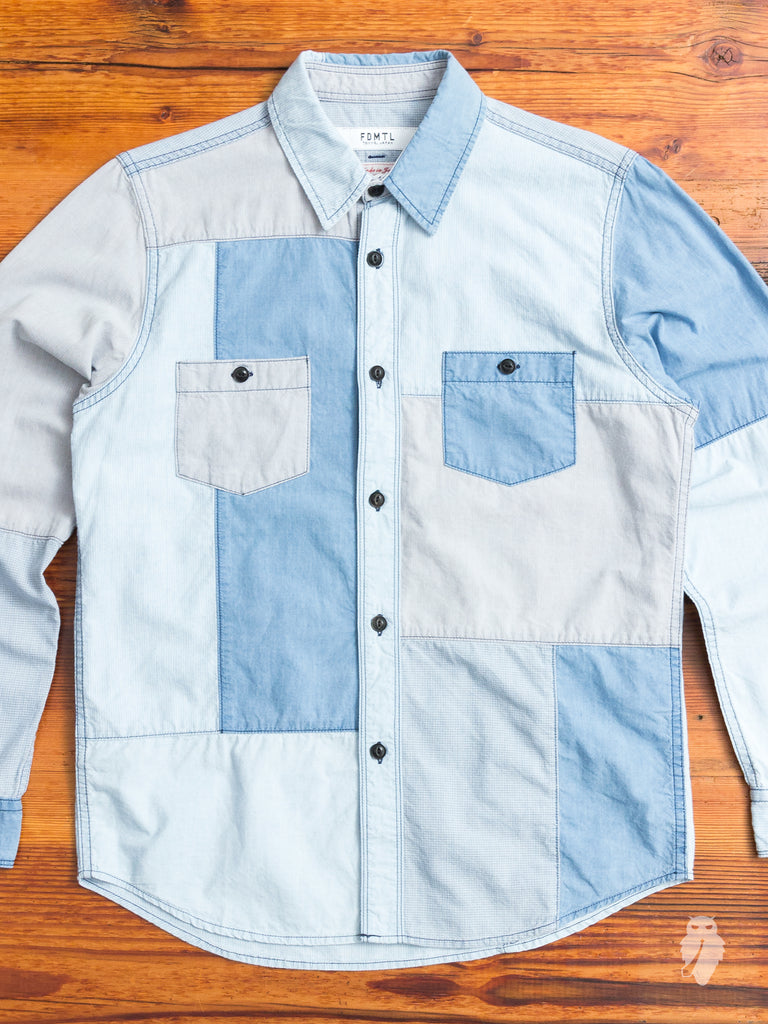 Boro Repair Button-Up Shirt in Washed Indigo