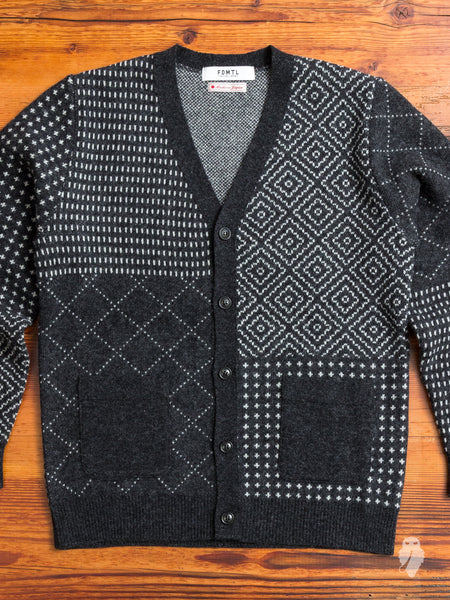 Sashiko Wool Cardigan in Black