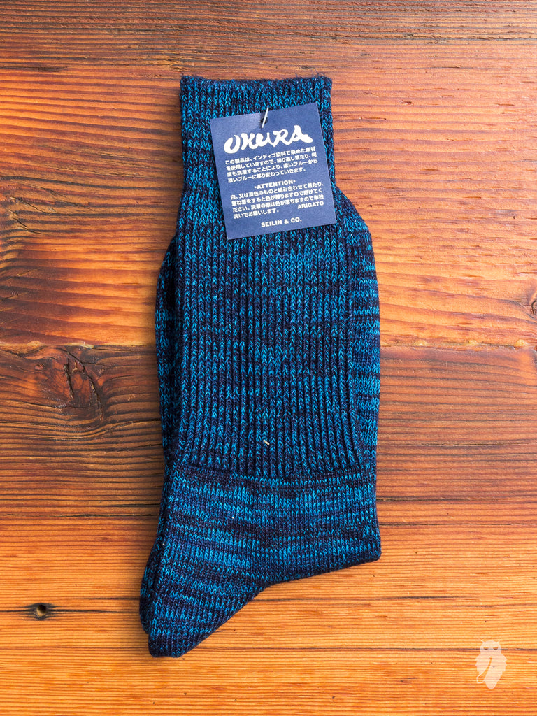 Indigo Melange Socks in Teal