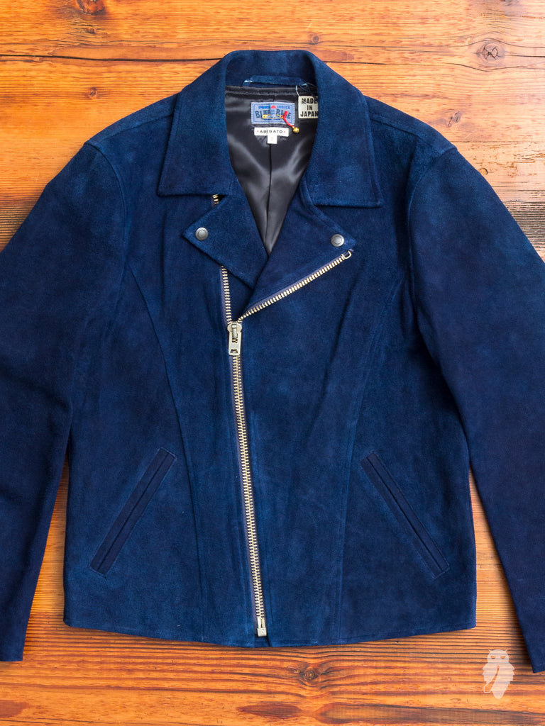 Suede Double Riders Jacket in Indigo