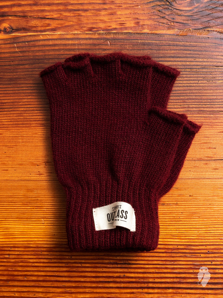 Fingerless Wool Gloves in Maroon