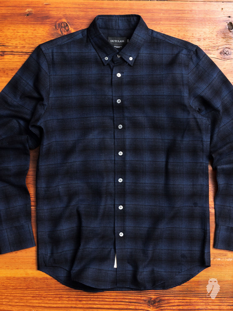 Shadow Plaid Brushed Flannel in Navy