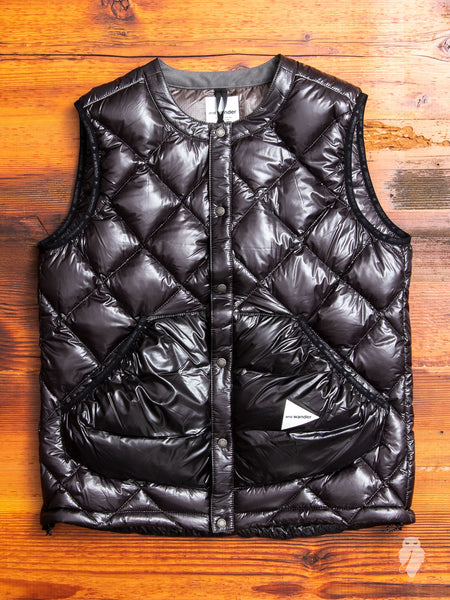 Diamond Stitch Down Vest in Black
