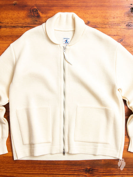 """Roscoff"" Shawl Zip Sweater in Cream"