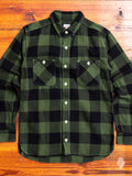05-187 Herringbone Flannel Shirt in Green
